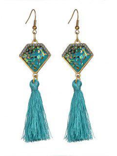 Faux Gem Tassel Geometric Hook Earrings - Sky Blue