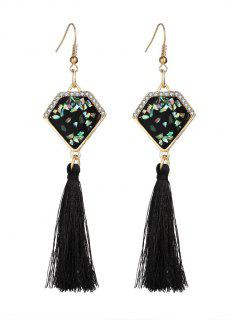 Faux Gem Tassel Geometric Hook Earrings - Black