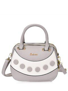 Textured Leather Color Block Handbag - Gray