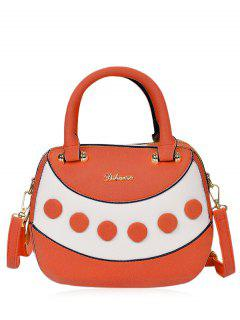 Textured Leather Color Block Handbag - Orange