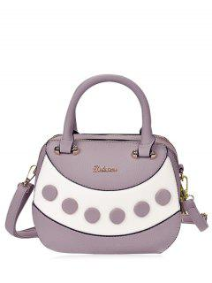 Textured Leather Color Block Handbag - Purple
