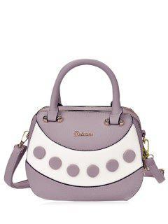 Bolso De Cuero Con Textura De Color Del Bloque - Púrpura