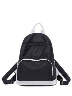 Nylon Color Block Zippers Backpack - Black