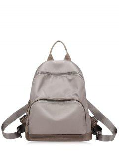 Nylon Color Block Zippers Backpack - Khaki