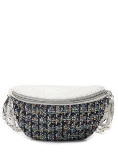 Quilted Plaid Pattern Chain Crossbody Bag - White