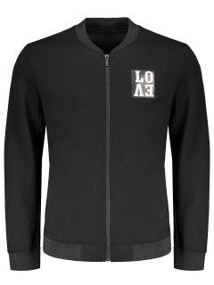 Love Embroidered Zippered Baseball Jacket - Black L