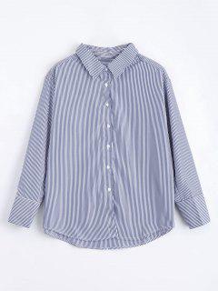 Camiseta Floja De Las Rayas Del Botón Abajo - Raya S