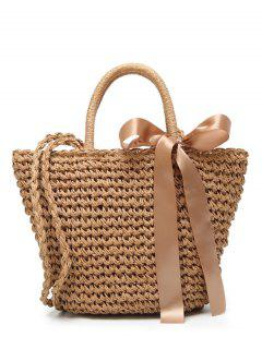 Ribbon Bowknot  Straw Handbag - Brown