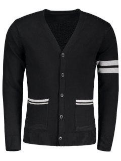 V Neck Button Up Cardigan - Black L