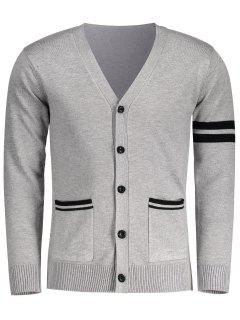 V Neck Button Up Cardigan - Gray L