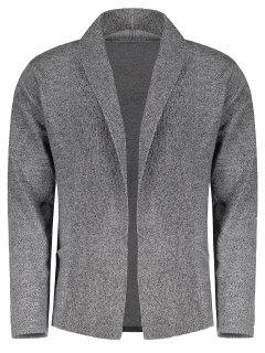 Shawl Collar Open Front Cardigan - Feather Gray L