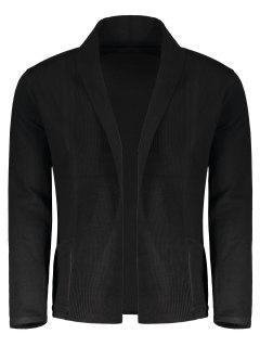 Shawl Collar Open Front Cardigan - Black Xl