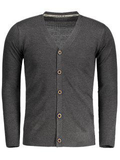 Button Up V Neck Cardigan - Deep Gray L