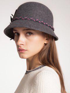 Woolen Blended Felt Leaf Patchwork Hat - Gray