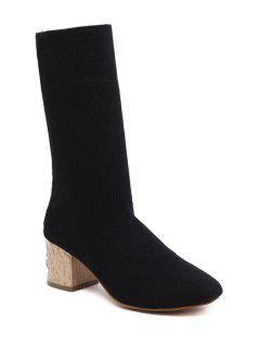 Mid Heel Knit Round ToeBoots - Black 39
