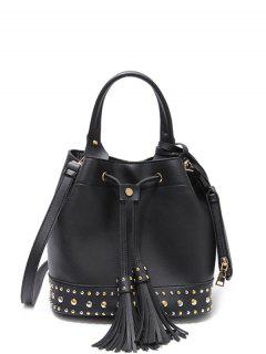 Drawstring Studded Tassels Handbag - Black