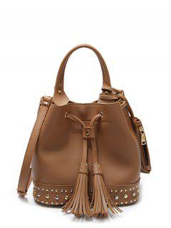 Drawstring Studded Tassels Handbag - Brown