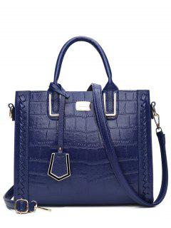 Weave Textured Leather Tote Bag - Blue