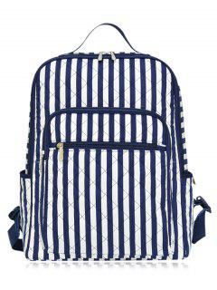 Striped Pettern Zippers Quilted Backpack - Blue And White