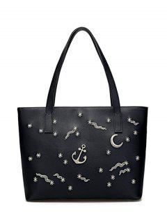 Faux Leather Embroidery Shoulder Bag - Black