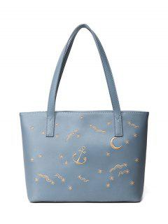 Faux Leather Embroidery Shoulder Bag - Blue