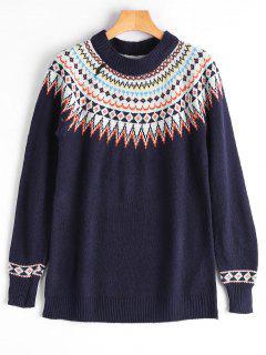 Sweater Graphique Ras Du Cou - Bleu Violet
