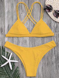 High Cut Cross Back Thong Bikini - Yellow M
