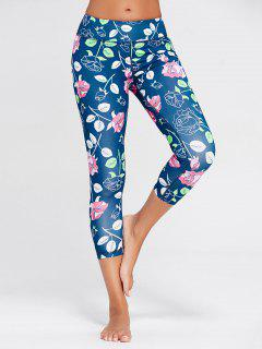 Rose Floral Printed Sports Leggings - Blue M