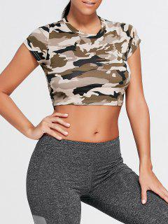 Camouflage Ripped Crew Neck Crop T-shirt - Army Green Camouflage L