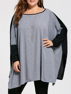Plus Size Color Block Batwing Long Sleeve T-shirt - Gray 4xl