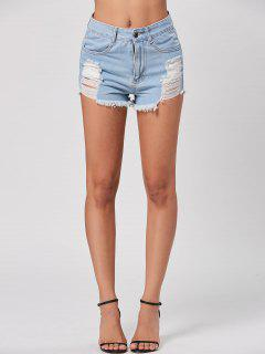 Mini Distressed Denim Cuff Off Shorts - Light Blue Xl