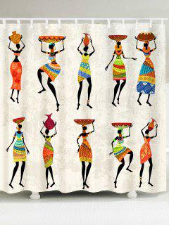 African Tribal Style Lady Pattern Waterproof Shower Curtain - W79 Inch * L71 Inch