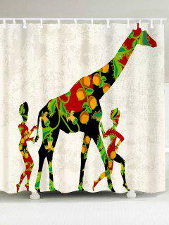 African Colored Giraffe Pattern Waterproof Shower Curtain - W79 Inch * L71 Inch