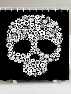 Halloween Flowers Skull Printed Waterproof Shower Curtain - White And Black W79 Inch * L71 Inch