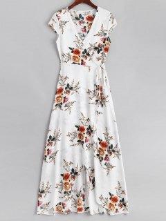 Robe Maxi Florale Cache-Coeur à Fente - Blanc L