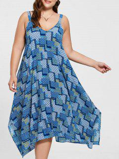 Plus Size Spaghetti Strap Geometric Print Handkerchief Dress - Blue Xl