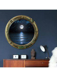 3D Window Sea Moon Removable Wall Art Sticker - Deep Blue 45*45cm