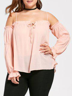 Plus Size Dew Shoulder Frill Blouse - Orangepink Xl