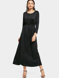 Cuello Redondo Manga Larga Vestido Maxi - Negro M