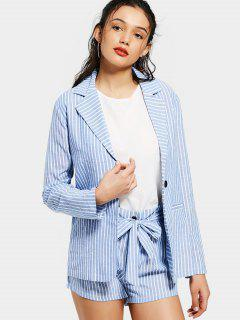 Striped Pockets Blazer And Belted Shorts Set - Stripe M