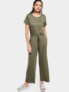 Invisible Pockets Drawstring Wide Leg Jumpsuit - Army Green L