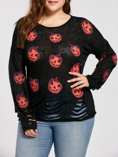 Plus Size Pumpkin Halloween Ripped Sweater - Black 4xl