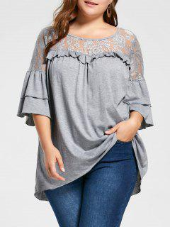 Plus Size Lace Yoke Frill Tunic Top - Light Gray 3xl