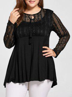 Plus Size Lace Panel Peplum Blouse - Black 2xl