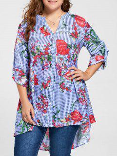 Plus Size Gingham Floral Babydoll Blouse - Blue 5xl