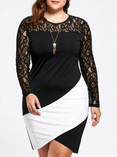 Plus Size Lace Panel Asymmetric Long Sleeve Dress - White And Black 4xl