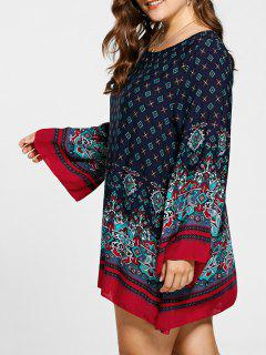 Plus Size Flare Sleeve Mini Bohemian Dress - Cerulean 5xl