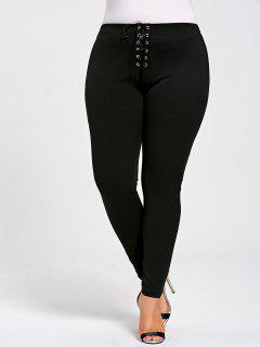 Plus Size Lace Up Skinny Leggings - Black 5xl