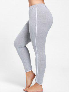 Plus Size Single Stripe Skinny Leggings - Gray 5xl