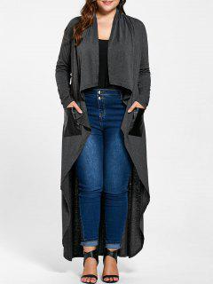 Plus Size Drape Duster Coat - Pearl Dark Grey 4xl